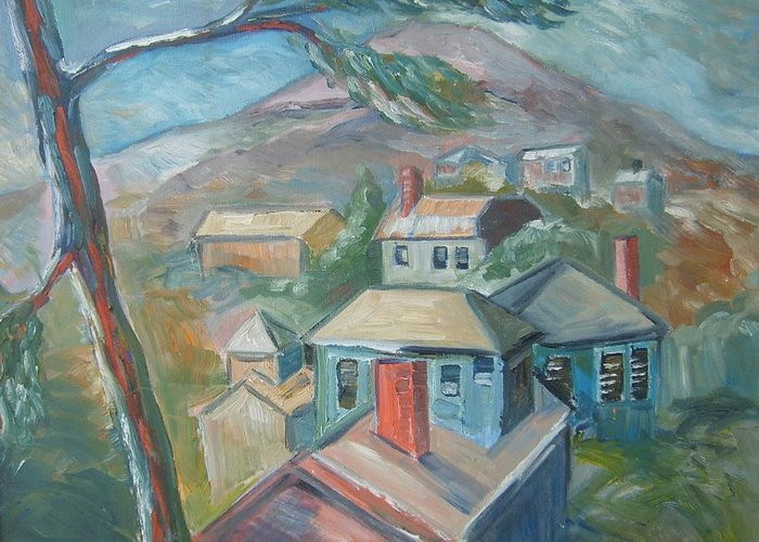 Landscape Greeting Card featuring the painting Small Town On A Mountain by Joseph Sandora Jr