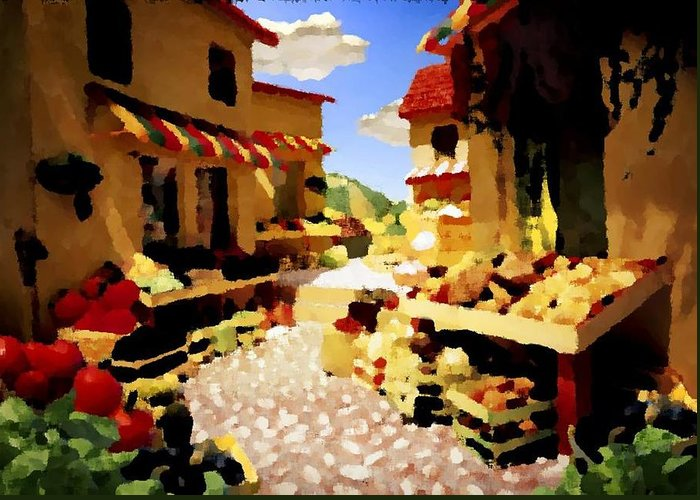 Market.town.street.road.houses.shadow.things For Sale.heat.rest.silence. Greeting Card featuring the digital art small urban market on Capri island by Dr Loifer Vladimir