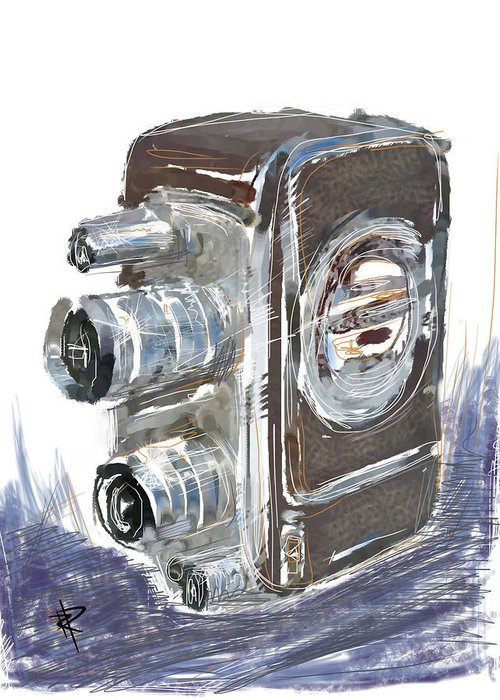 Movie Camera Greeting Card featuring the mixed media Smile And Wave by Russell Pierce