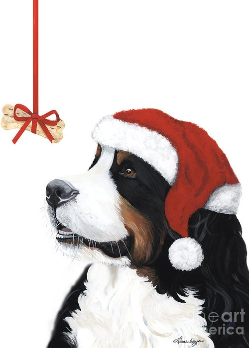 Bernese Mountain Dog Greeting Card featuring the painting Smile Its Christmas by Liane Weyers