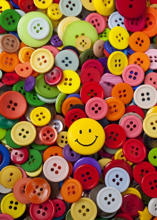 Smiley Face Greeting Card featuring the photograph Smiley Face Button by Garry Gay
