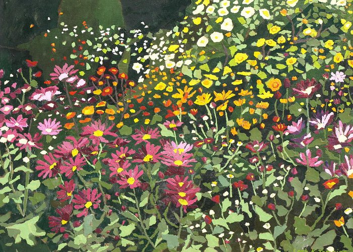 Floral Greeting Card featuring the painting Smith Mums by Leah Tomaino