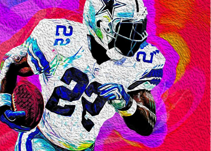 Dallas Cowboys Greeting Card featuring the painting Smith by Never Say Never