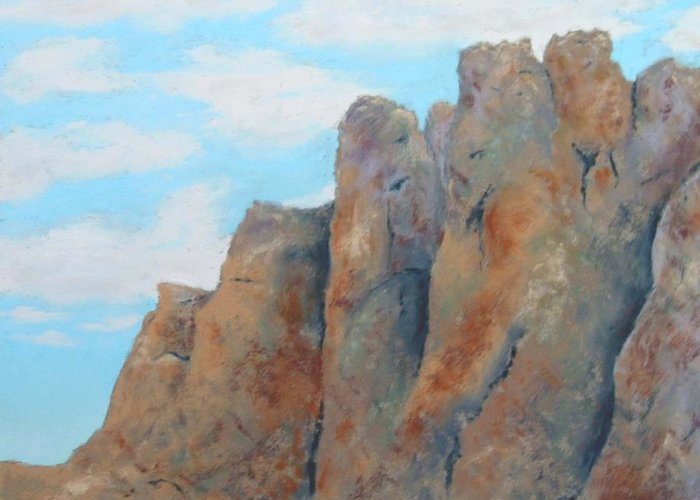 Landscape Greeting Card featuring the painting Smith Rock by Carl Capps