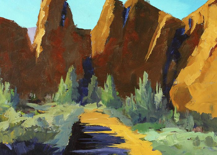 Oregon Landscape Painting Greeting Card featuring the painting Smith Rock by Nancy Merkle
