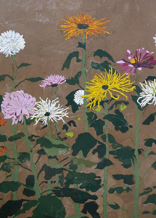 Collage Greeting Card featuring the painting Smith's Giant Chrysanthemums by Leah Tomaino