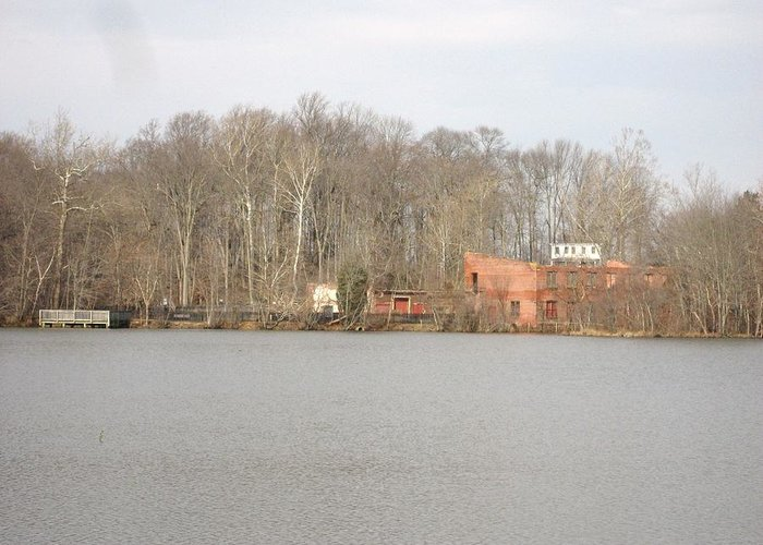 Lake Greeting Card featuring the photograph Smithville Park's Old Mill Factory by Jennifer Sweet