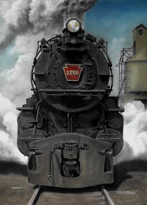 Trains Greeting Card featuring the painting Smoke And Steam by David Mittner