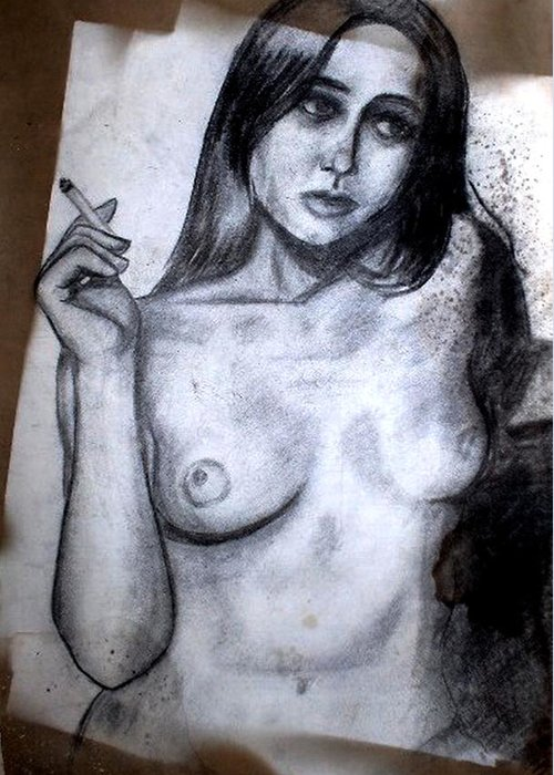 Nude Greeting Card featuring the drawing Smoker by Thomas Valentine
