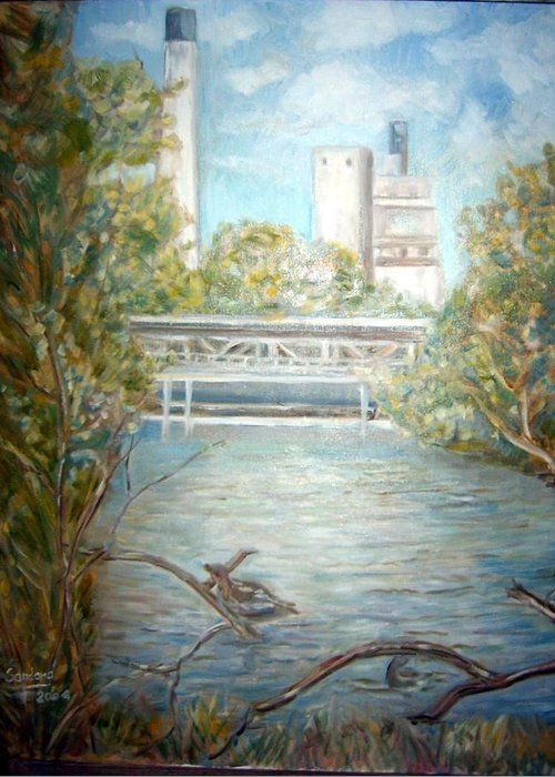 Landscape River Factory Ducks Greeting Card featuring the painting Smokestack by Joseph Sandora Jr