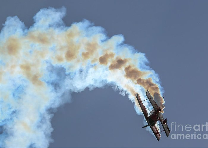 Biplane Greeting Card featuring the photograph Smokey Biplane by Tom Claud