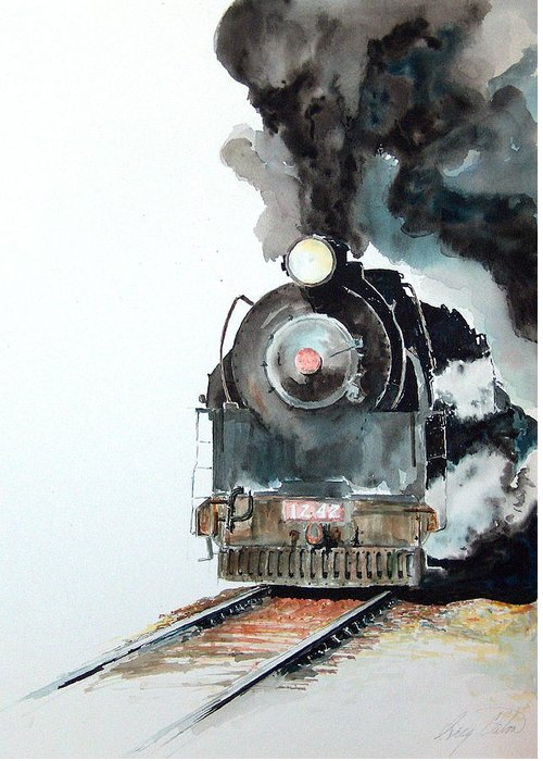 Trains Greeting Card featuring the painting Smokin by Greg Clibon
