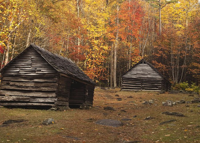 Smoky Greeting Card featuring the photograph Smoky Mountain Cabins At Autumn by Andrew Soundarajan