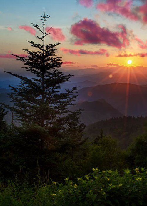 Great Smoky Mountains Greeting Card featuring the photograph Smoky Mountain Sunset by Christopher Mobley