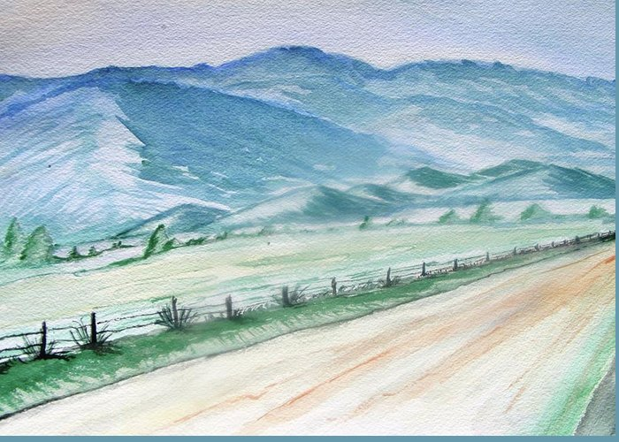 Smoky Mountains Greeting Card featuring the painting Smoky Mountains From Cades Cove Loop by Spencer Hudson