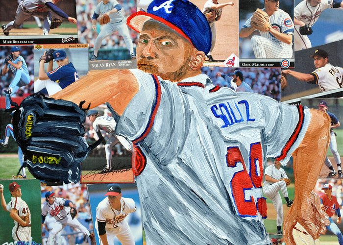 Baseball Greeting Card featuring the painting Smoltz by Michael Lee
