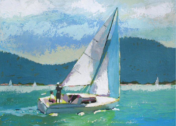 Boat Greeting Card featuring the painting Smooth Sailing by Robert Bissett