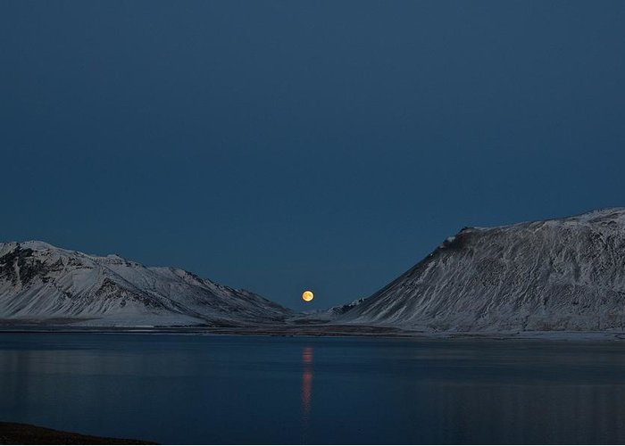 Moon Greeting Card featuring the photograph Snaefellsnes Moonrise by Porter Glendinning
