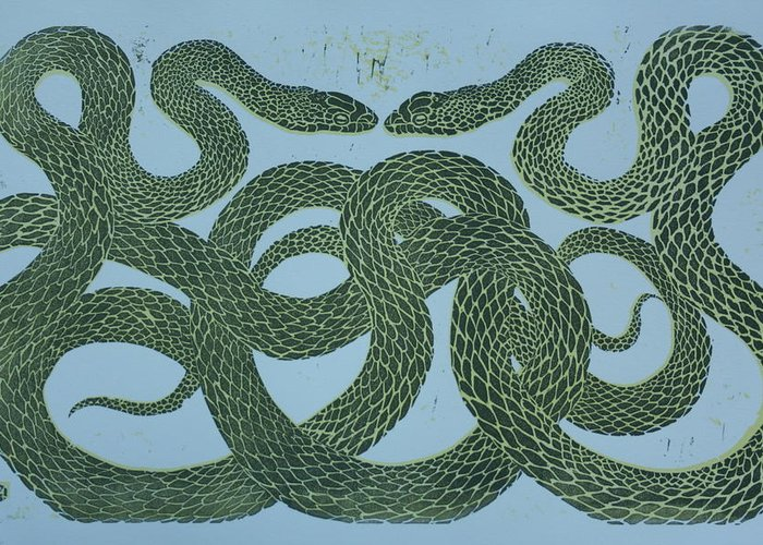 Nature Greeting Card featuring the mixed media Snake Council by Pati Hays