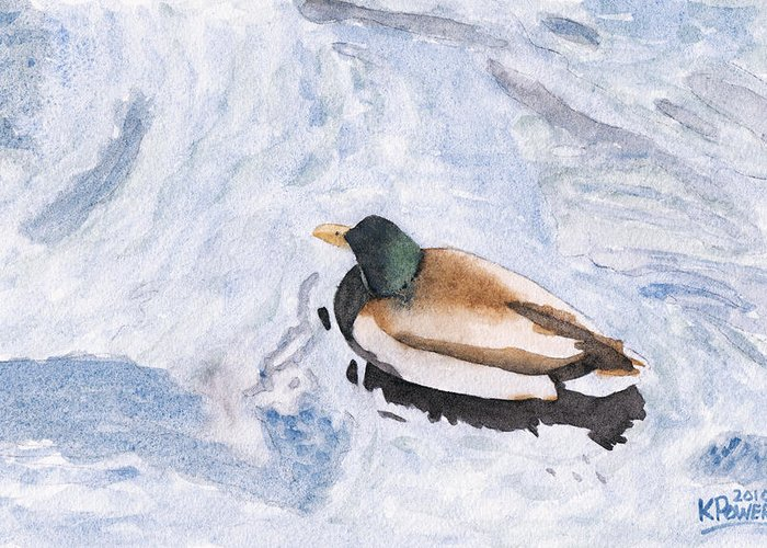 Watercolor Greeting Card featuring the painting Snake Lake Duck Sketch by Ken Powers