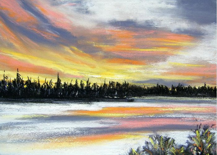 Sunset Greeting Card featuring the pastel Snake River Sunset by Gale Cochran-Smith