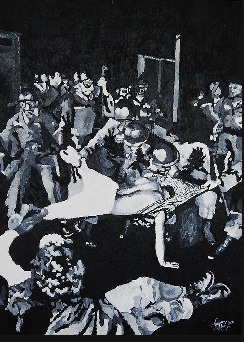Civil Rights Greeting Card featuring the painting Sncc Photographer Is Arrested By National Guard by Lauren Luna