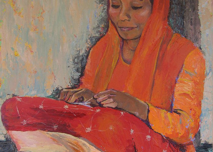 Art Nomad Greeting Card featuring the painting Snipping Threads by Art Nomad Sandra Hansen