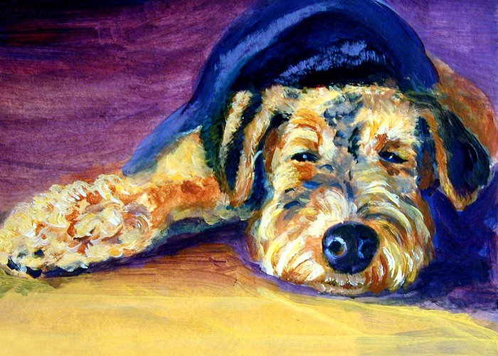 Airedale Terrier Greeting Card featuring the painting Snooze Airedale Terrier by Lyn Cook