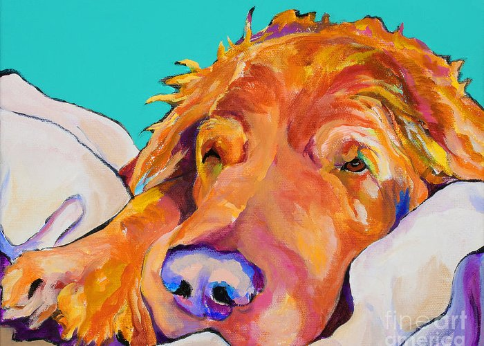 Dog Poortraits Greeting Card featuring the painting Snoozer King by Pat Saunders-White