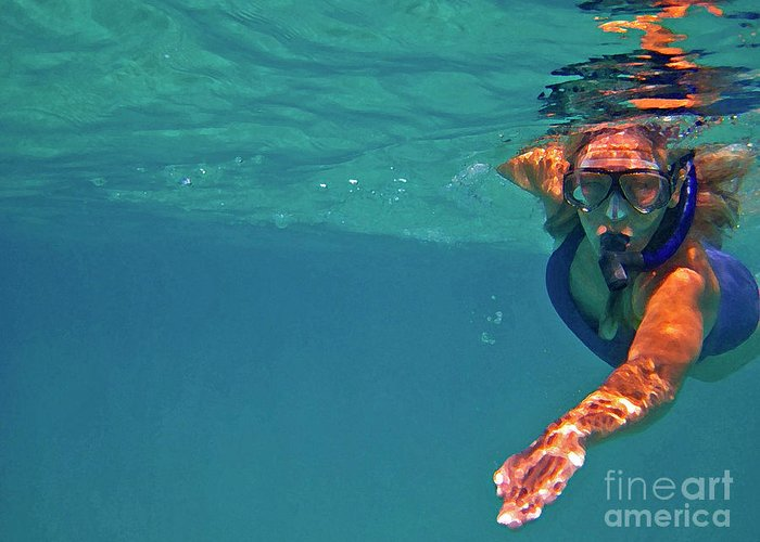 Underwater Greeting Card featuring the photograph Snorkeler 2 by Bette Phelan