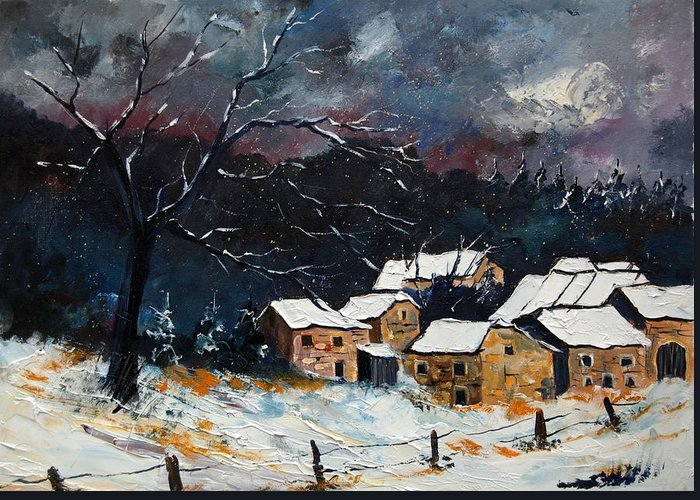 Snow Greeting Card featuring the painting Snow 57 by Pol Ledent