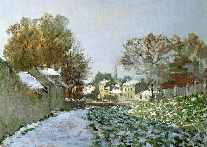 Snow Greeting Card featuring the painting Snow At Argenteuil by Claude Monet