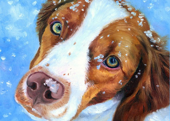 Brittany Spaniel Greeting Card featuring the painting Snow Baby - Brittany Spaniel by Lyn Cook