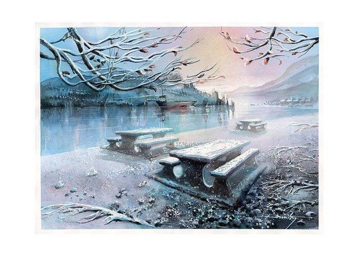 Landscape Greeting Card featuring the painting Snow Blanket by Dumitru Barliga