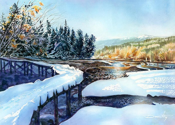 Landscape Greeting Card featuring the painting Snow Blanket Over Shoreline Trials by Dumitru Barliga