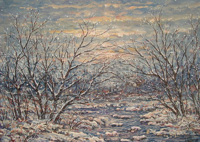 Landscape Greeting Card featuring the painting Snow By Brook. by Leonard Holland