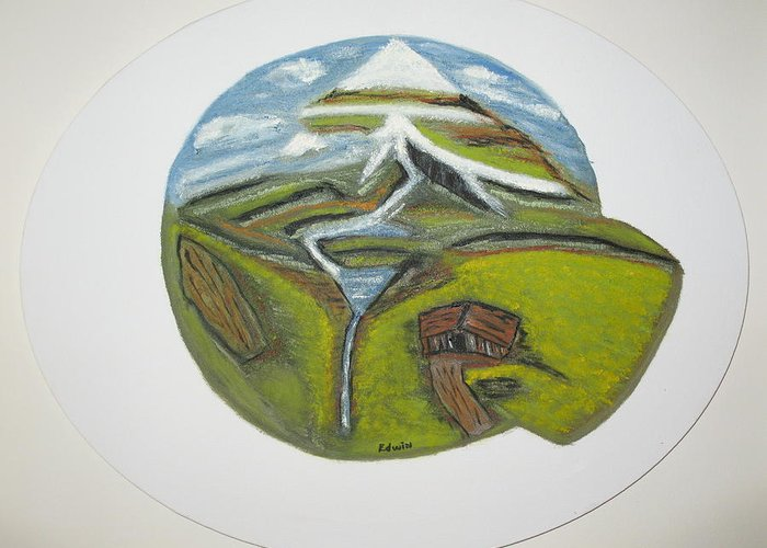 Mountains Greeting Card featuring the painting Snow Cap Resort by Edwin Long