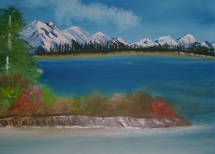 Mountains Greeting Card featuring the painting Snow Capped Mountains by Dottie Briggs