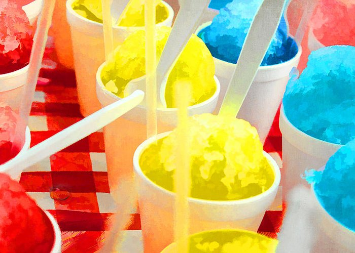 Snow Cones Greeting Card featuring the photograph Snow Cones by Deon Grandon