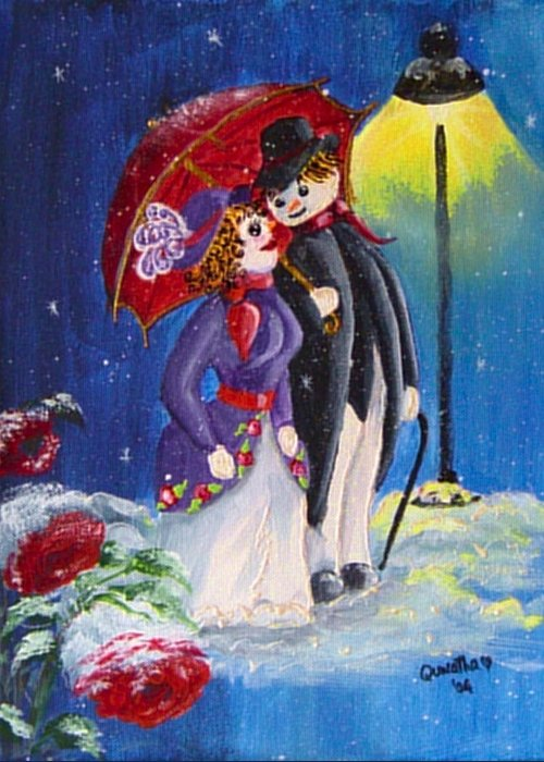 Snow Greeting Card featuring the painting Snow Couple by Quwatha Valentine