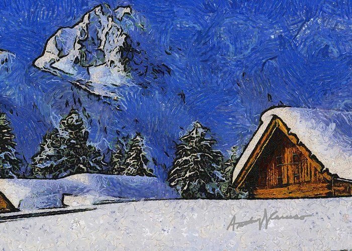 Chalet Greeting Card featuring the painting Snow Covered by Anthony Caruso