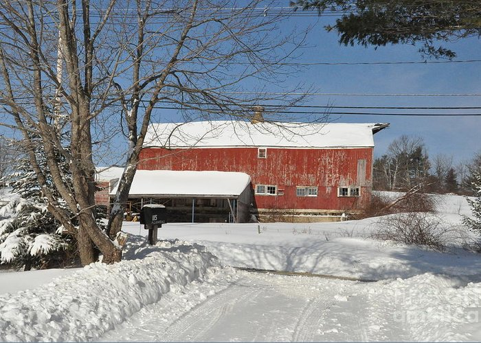 Barn Greeting Card featuring the photograph Snow Covered Masachussetts Barn by John Black