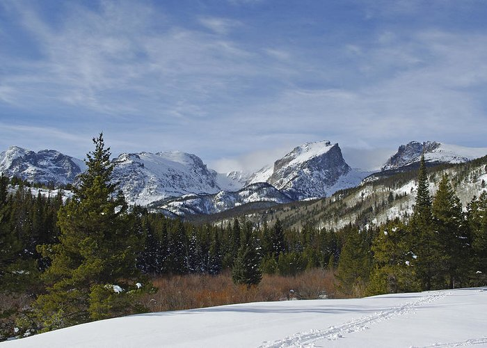 Snow Greeting Card featuring the photograph Snow Covered Peaks by Vicki Reinke