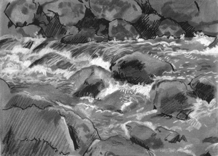 Creek Greeting Card featuring the drawing Snow Creek In Spring by Robert Bissett