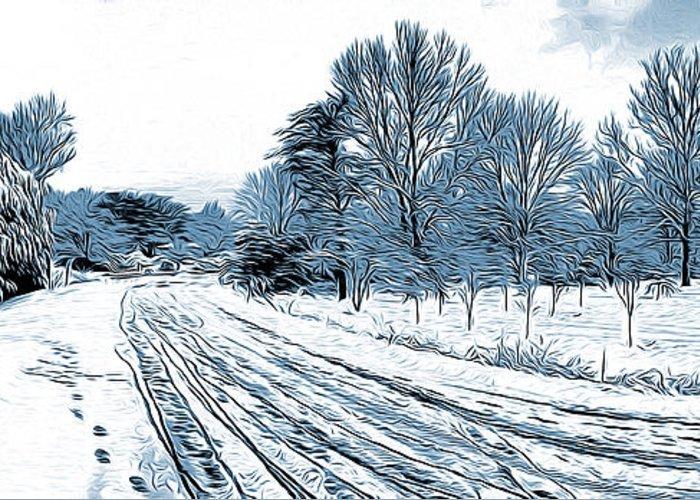 Winter Roads Digital Art Greeting Cards