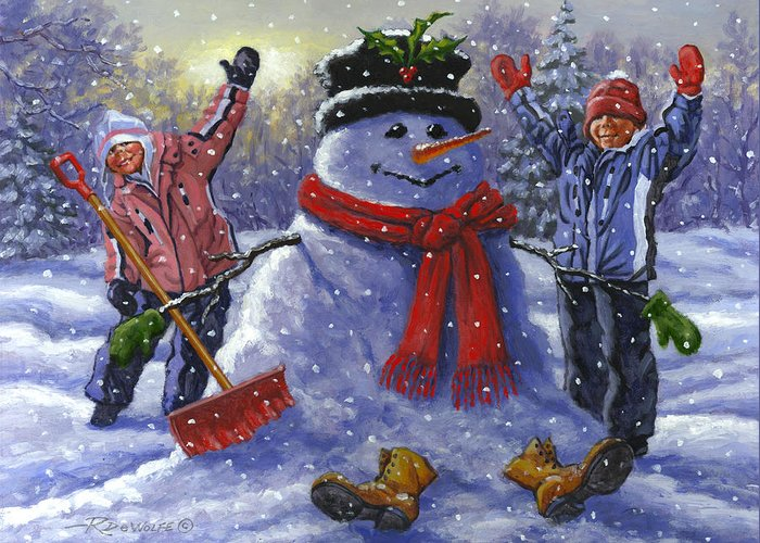Snowman Greeting Card featuring the painting Snow Day by Richard De Wolfe