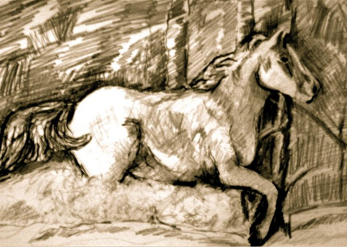 Horse Greeting Card featuring the drawing Snow Drift Delight by Dan Earle