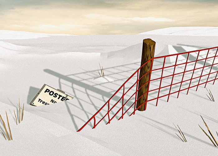Snow Greeting Card featuring the painting Snow Fence by Peter J Sucy