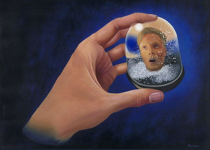Portrait Greeting Card featuring the painting Snow Globe by Patricia Van Lubeck