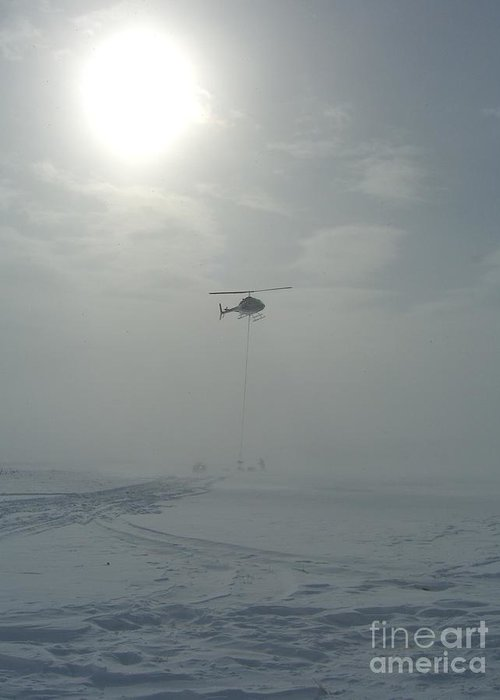 Helicopter Greeting Card featuring the photograph Snow Heli -25deg by Jim Thomson